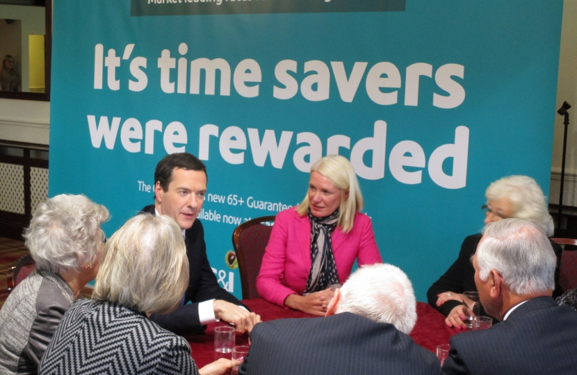 Chancellor George Osborne and Amanda Milling, Pensioner Bond launch near Cannock
